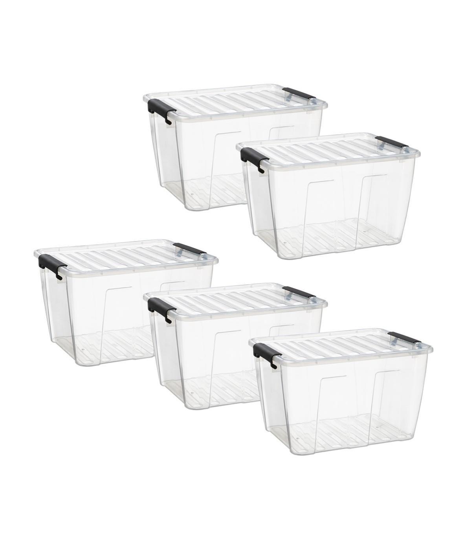boite de rangement en plastique transparent 30 l  lot de