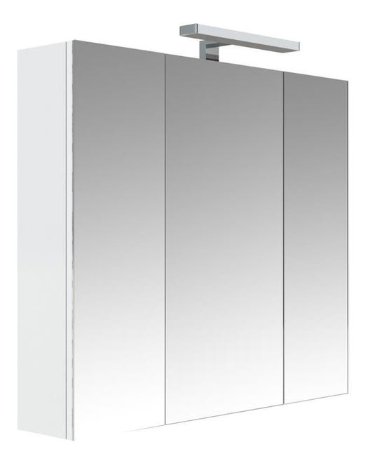 Allibert Armoire De Toilette Eclairante 80 Cm 3 Portes Miroirs Blanc Brillant Prise Ute Juno Leroy Merlin