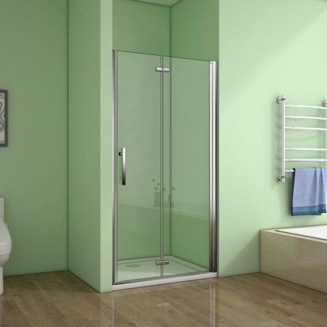 aica porte de douche 120x195cm porte de douche pivotante et pliante verre anticalcaire