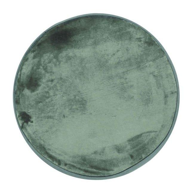 flanelle tapis rond extra doux effet velours vert fonce diam 70