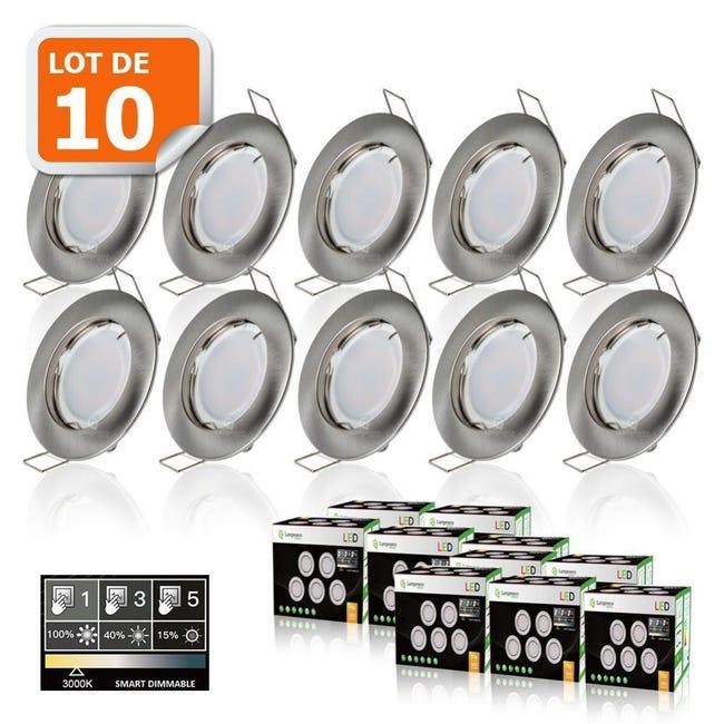 10 Spots Led Dimmable Sans Variateur 7w Eq 56w Blanc Chaud Finition Alu Brosse Leroy Merlin