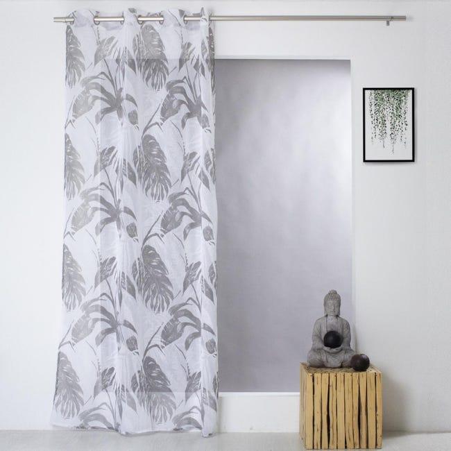 voilage imprime jungle gris 140 x