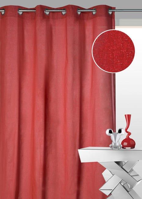 rideau d ameublement uni paillete rouge 140 x 260 cm poly lin