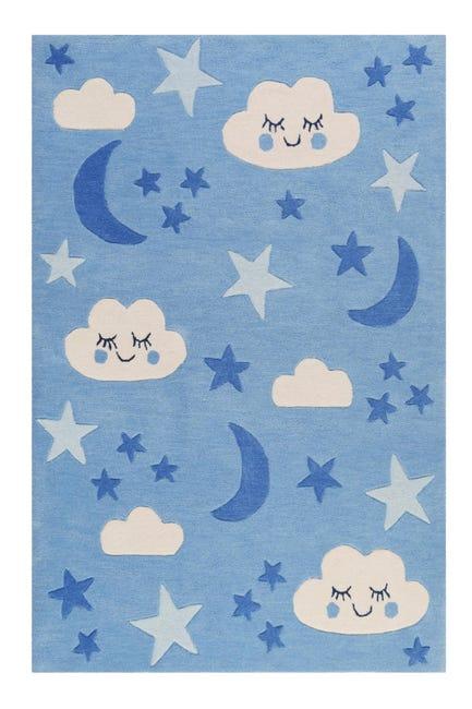 tapis chambre enfant ciel nuages bleu tufte main 130x190cm lalelu par smart kids
