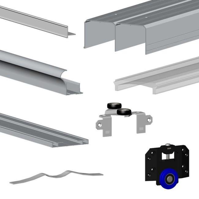 kit slid up 280 aluminium anodise argent pour 3 portes de placard coulissantes 18 mm rail 3 m 50 kg