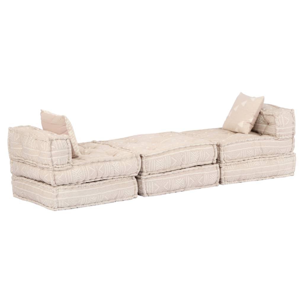 Coussins Canapé De Sol Poufs Modulaire Chaise Longue En Tissu 10 Places En  Tissu Beige Dec0212106