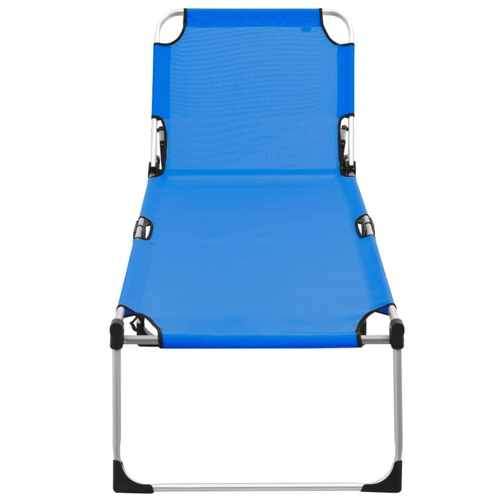 chaise longue pliable extra haute pour seniors bleu