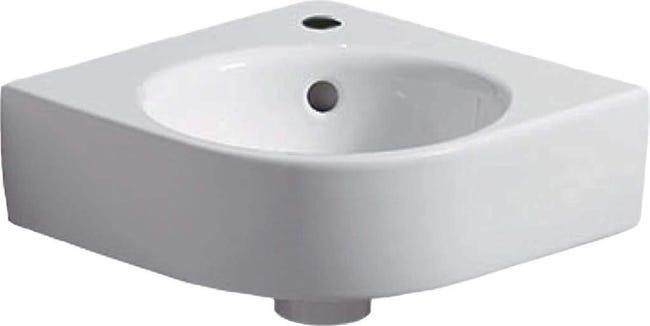 Lave Mains D Angle Geberit Renova Compact B 45cm T 39 5cm Trou De Robinetterie Au Centre Trop Plein Visible Blanc Ref 276132000 Leroy Merlin