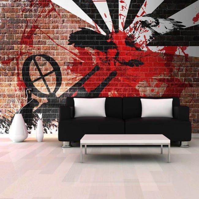 """Papier Peint """"graffiti Sur Un Mur De Brique""""   Leroy Merlin"""