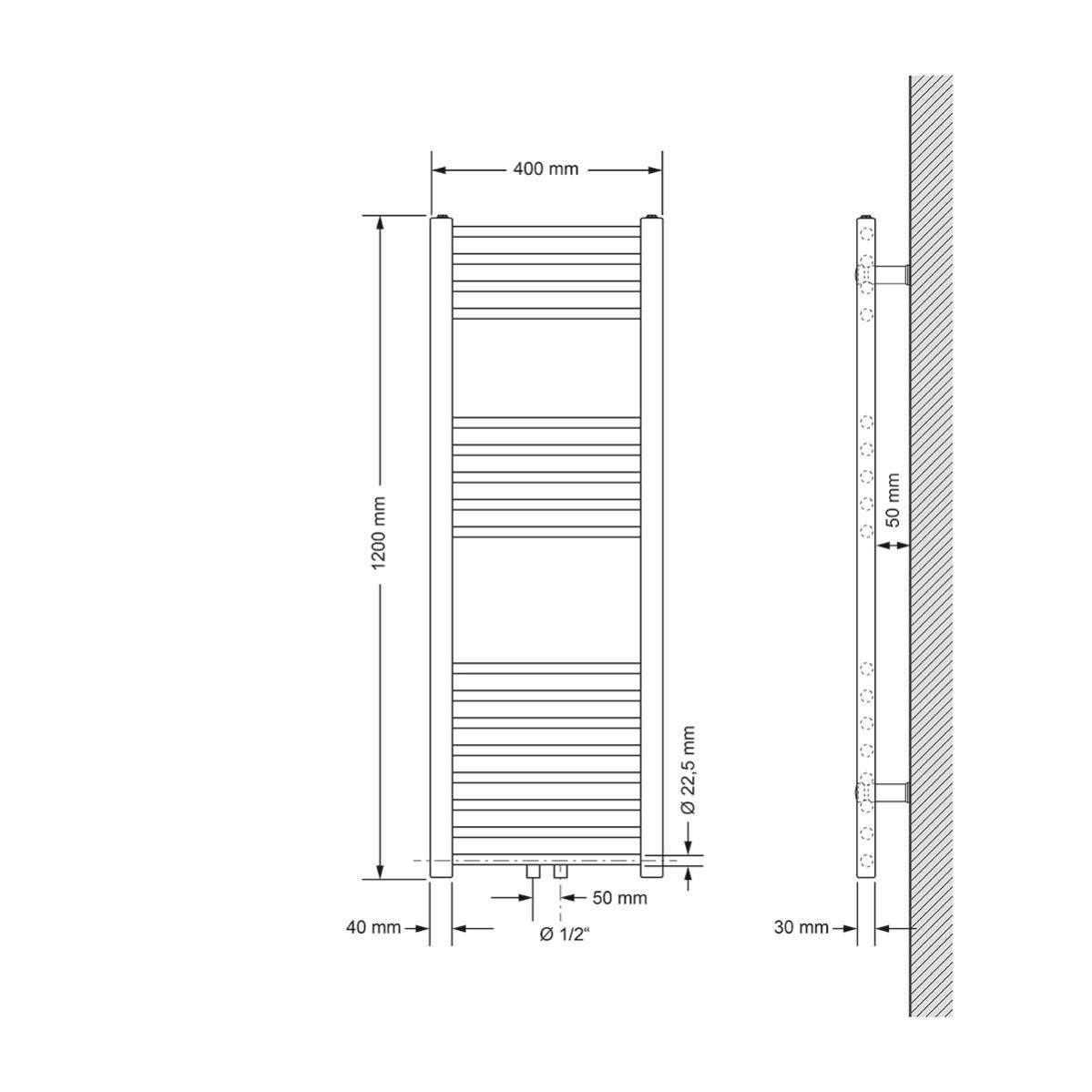 ECD Germany Radiateur Design s/èche-serviettes chaud 500 x 950 mm chrome avec /él/ément chauffant 600W