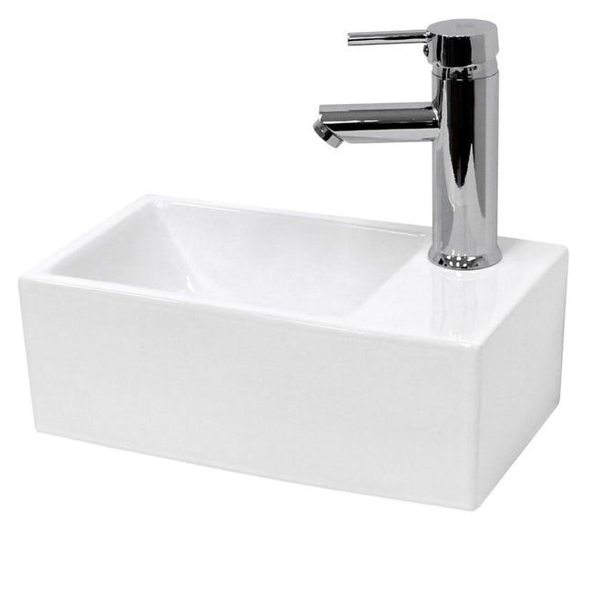 lave mains lavabo vasque salle de bain ceramique rectangulaire blanc 350x205mm