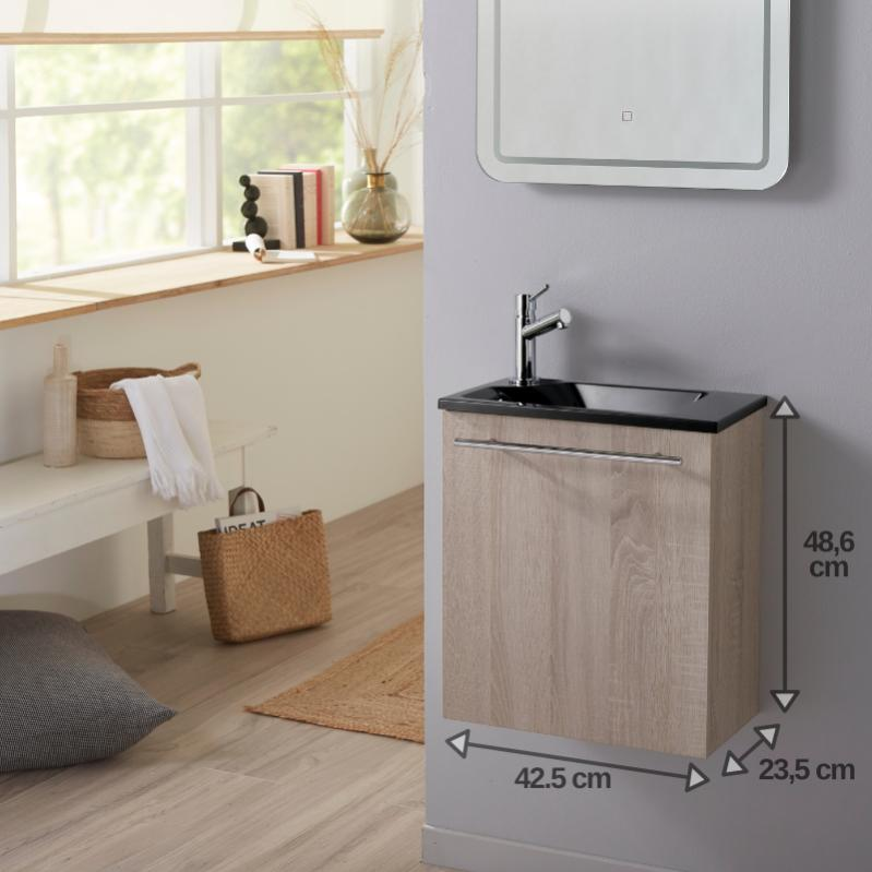 lavemains complet pour wc avec meuble couleur chêne