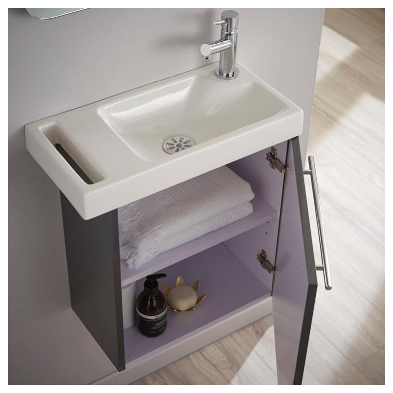 lave mains anthracite brillant pour wc avec robinet eau
