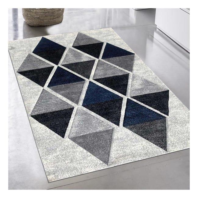 tapis design et moderne 120x170 cm rectangulaire losandesign bleu salon adapte au chauffage par le sol