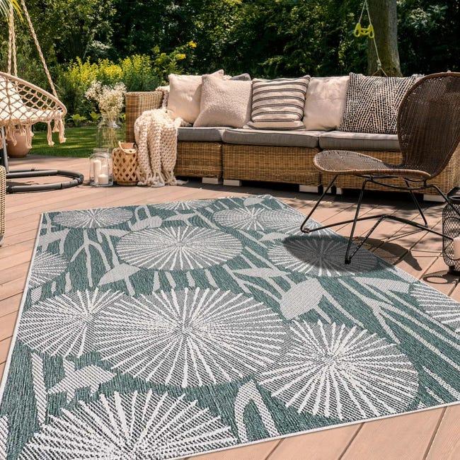 tapis exterieur 160x230 cm rectangulaire af paraple reversible vert terrasse jardin adapte au chauffage par le sol