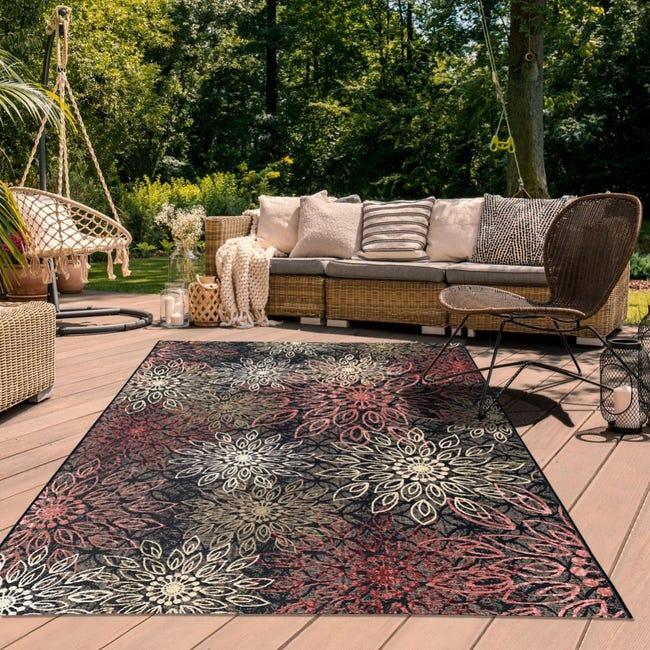 tapis exterieur 123x180 cm rectangulaire orade multicolore terrasse jardin adapte au chauffage par le sol