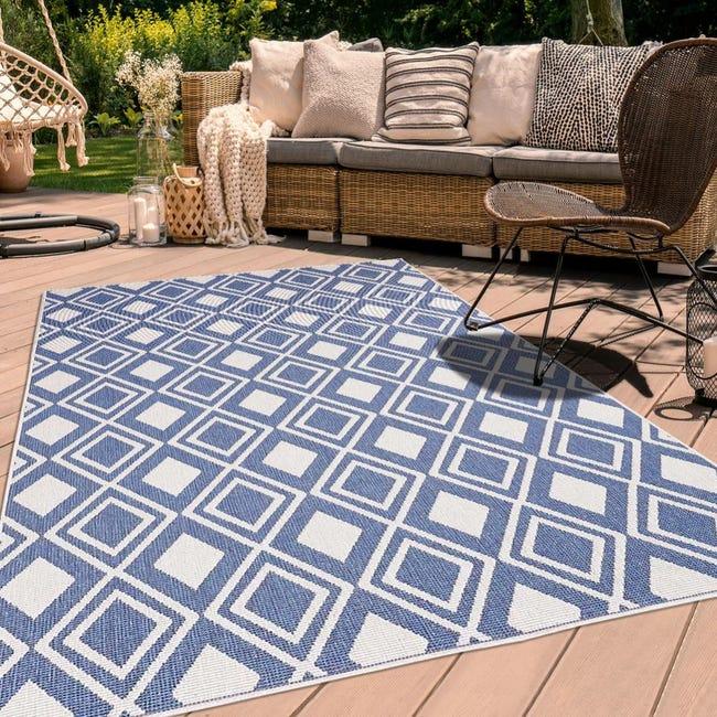 tapis exterieur 120x170 cm rectangulaire af damlos reversible bleu terrasse jardin adapte au chauffage par le sol