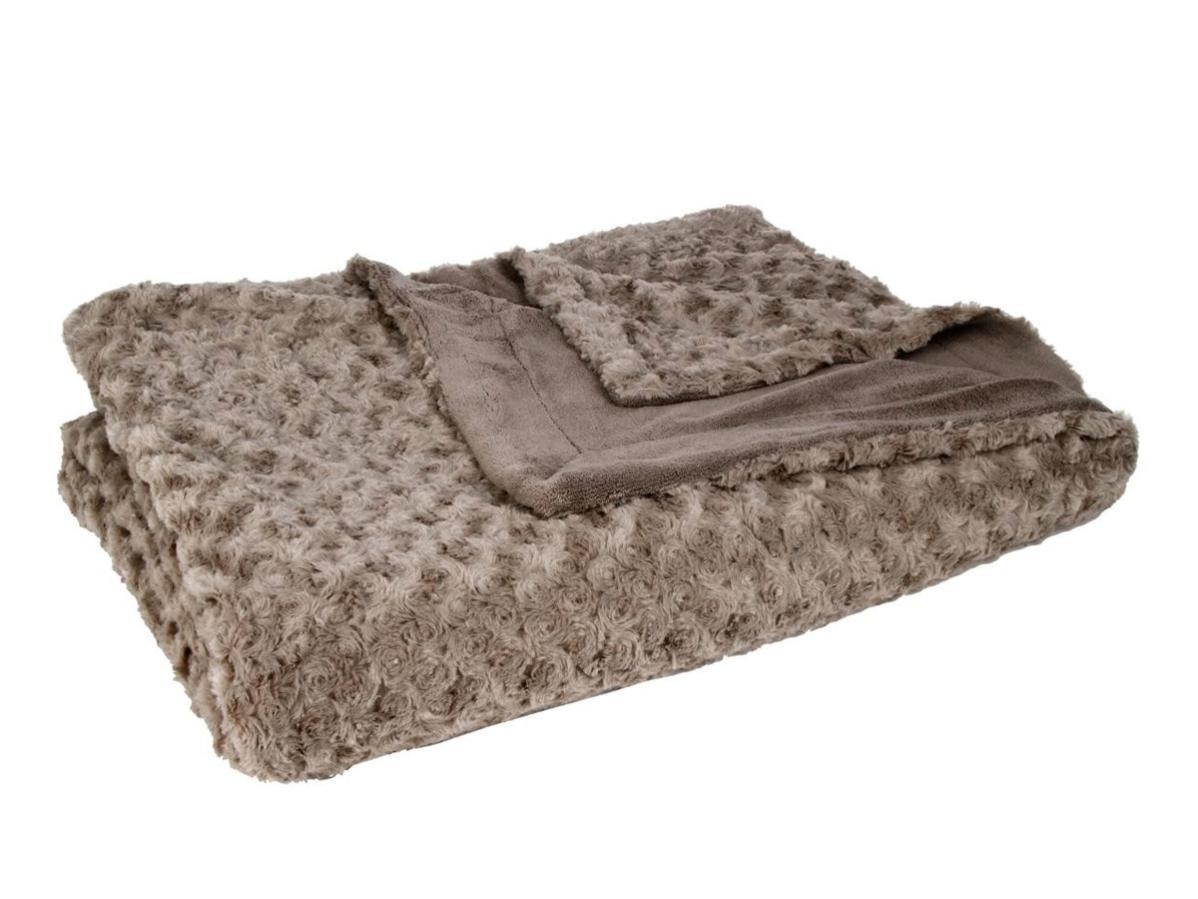 Tricot Côtelé Taupe barbu Throw Blanket 140 cm x 180 cm