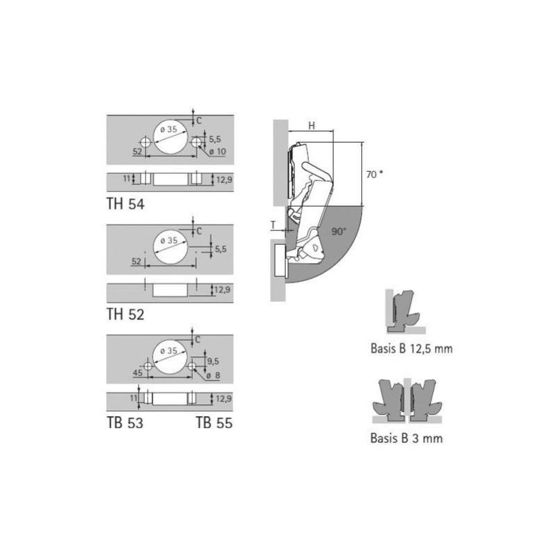 Coudure : 0 mm HETTICH Version : TH52 Entraxe : 52 mm Charni/ère sensys 8675 110/° Fixation : A visser D/écor : Noir Obsidien Montage : En applique