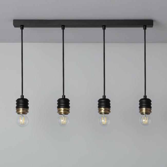 Lampe Suspendue Rugat 4 Spots Noir Leroy Merlin
