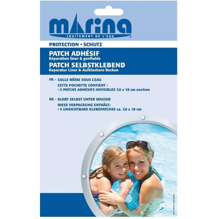Patch réparation instantanée sans colle pour liners piscine et bassin 7,6 X 18cm