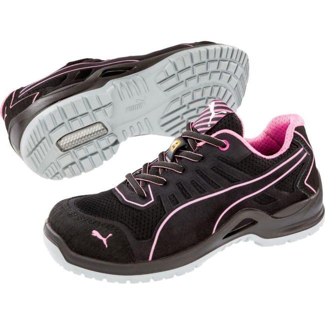 Chaussure De Sécurité Basse Femme Puma Fuse Pink Low Esd S1p Src Noir / Rose 37
