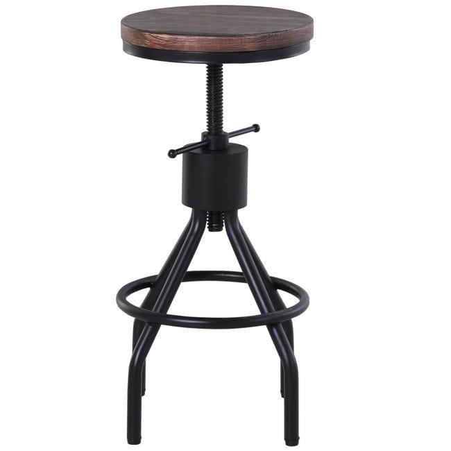 Homcom Sgabello Stile Industriale Per Cucina Bar In Metallo Seduta Legno Di Pino Con Altezza Regolabile 40x40x59 77cm Leroy Merlin