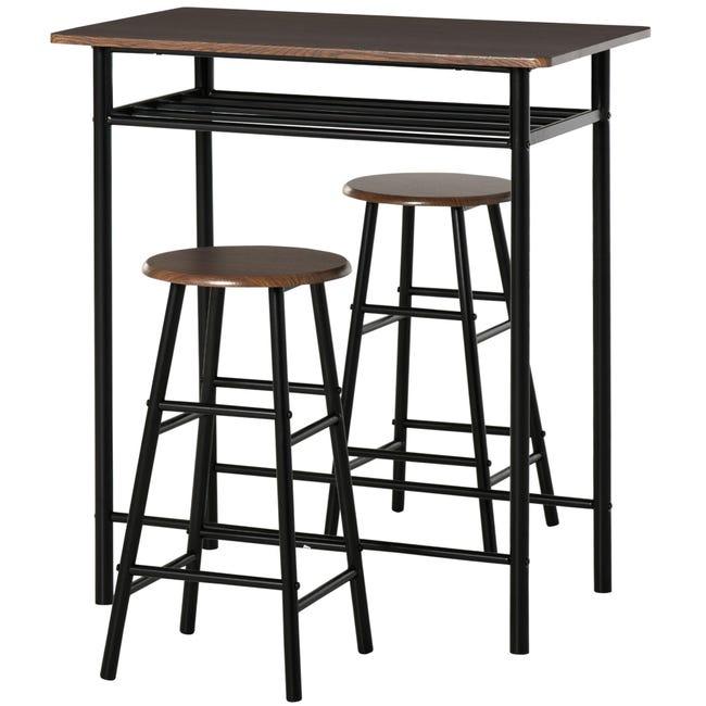 Homcom Tavolo Alto Con 2 Sgabelli Per Cucina Soggiorno Bar Struttura In Acciaio Con Poggiapiedi E Mensola Leroy Merlin