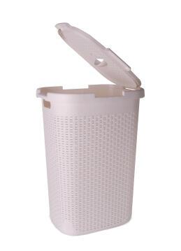 Laundry basket with lid Rattan SENSEA white 60L