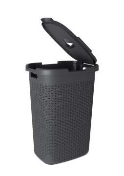 Laundry basket with lid Rattan SENSEA dark grey 60L