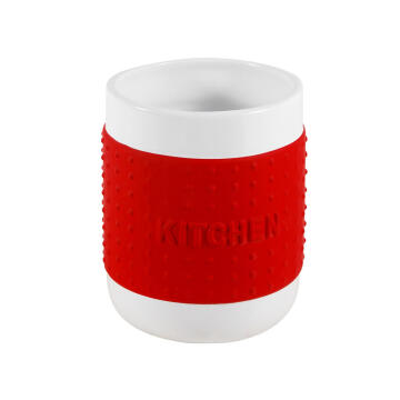 Kitchen utensils holder ceramic red