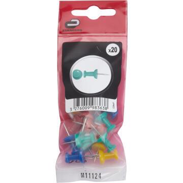 20P PUSH PIN STL & PLASTIC ASSORTED BAG