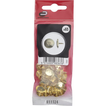 65P THUMB TACK STEEL, BRASS PLATED, BAG