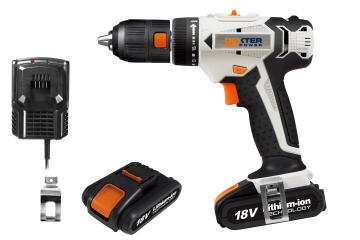 Cordless Drill Dexpter Power 18V 2X2.Ah Lit Bat With Removable Chuck