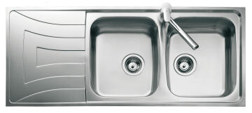 Kitchen sink 2 bowls and 1 drainer stainless steel 116.5cm x52cm
