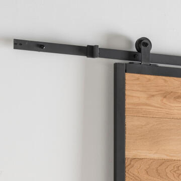 Sliding Mechanism Industrial for Wooden Door up to 75kg and 930mm width with Black Visible Rail