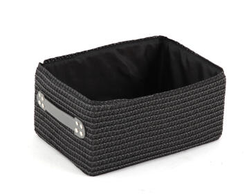 Laundry basket woven rectangle grey 32X22X15CM
