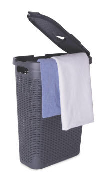 Laundry basket with lid Rattan SENSEA light grey 60L