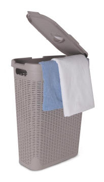 Laundry basket with lid Rattan grey 60L