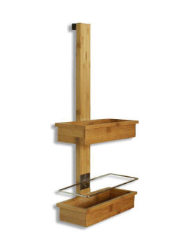 Shower Caddie 2tier Metal Bamboo