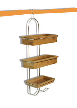 Shower Caddie 3tier Metal Bamboo