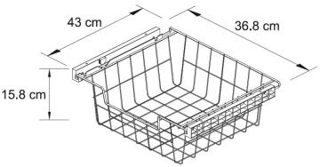Metal sliding basket H15 X W40 x D45cm