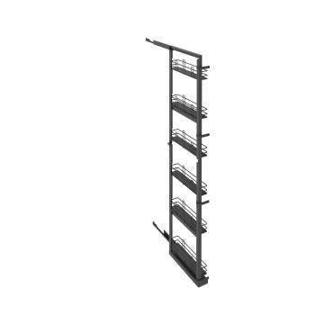 Kitchen sliding wire basket long pantry cabinet grey 58cm x 15cm 214.4cm