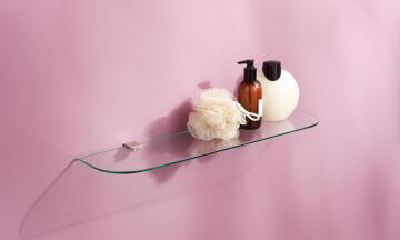 Glass shelf rounded clear W60 x D15cm