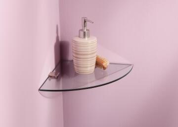 Glass shelf fan shape clear W25 x D25cm