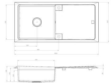 Kitchen sink 1 bowl and 1drainer granite and resine contour black 108cm x 51.5cm