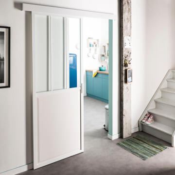 Sliding system white wood door with cover max 40kg 930mm