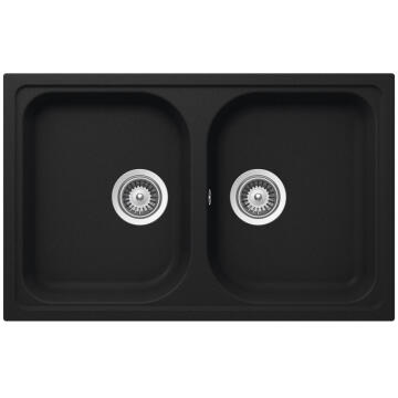 Kitchen sink 2 square bowls Frasa Momento 80 stonesilk black