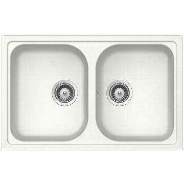 Kitchen sink 2 square bowls Frasa Momento 80 stonesilk white