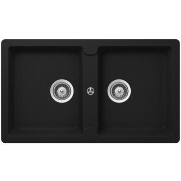 Kitchen sink 2 square bowls Frasa Enigma 90 stonesilk black